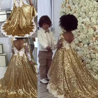 2018 Gold Sequins Flower Girls Dresses For Weddings White Appliques Illusion Long Sleeves Bling Asymmetric Girls Pageant Dresses