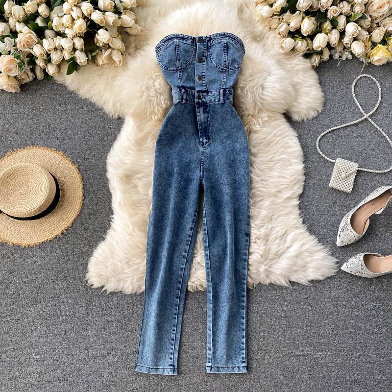 Amolapha женские пикантные джинсовые комбинезоны на пуговицах без бретелек