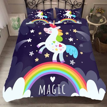 BEST.WENSD Kids Beds Cartoon Rainbow Unicorn Bedding Set Home Bed Set Cotton Cute HD Unicorn Duvet Cover Cotton with Pillowcase