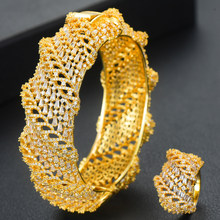GODKI Wide Luxury Tennis Bangle Ring Sets Jewelry Sets For Women Wedding Cubic Zircon Crystal CZ aretes de mujer modernos 2020(China)