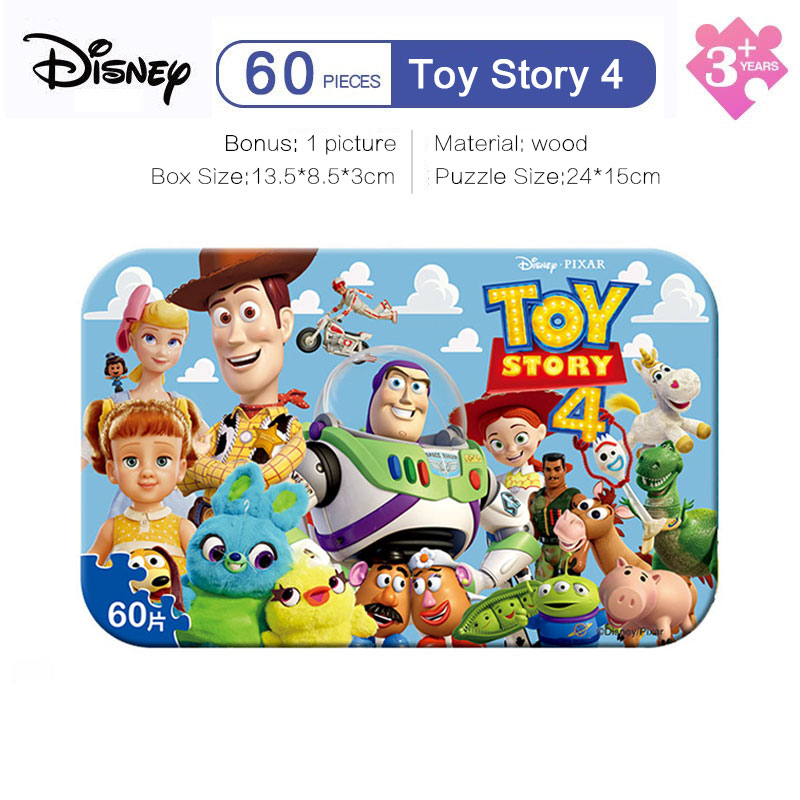 Disney Toy Story 4 Puzzle 60  Baby Toy Children Wooden Jigsaw Puzzles Kids Educational
