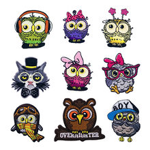 Cartoon Vogel Strijken Patches Voor Kleding Geborduurde Uil Patch Ijzer Op Kleding Kinderen Kid Applique Naaien Stickers Zak Badges(China)