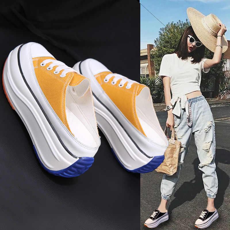 2020 ฤดูร้อนใหม่ครึ่งรองเท้าแตะ Baotou โดยไม่ต้องส้นภายในเพิ่มรองเท้าผ้าใบผู้หญิงผ้าใบกลางแจ้งเดินรองเท้าผู้หญิง ZZ-245