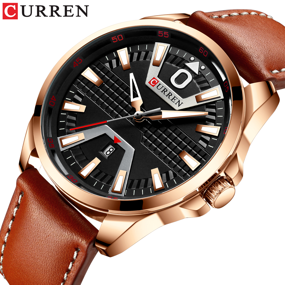 New Fashion Brand CURREN Quartz Watch Leather Strap Men's Business Wristwatch Auto Date Male Clock Relogio Masculino