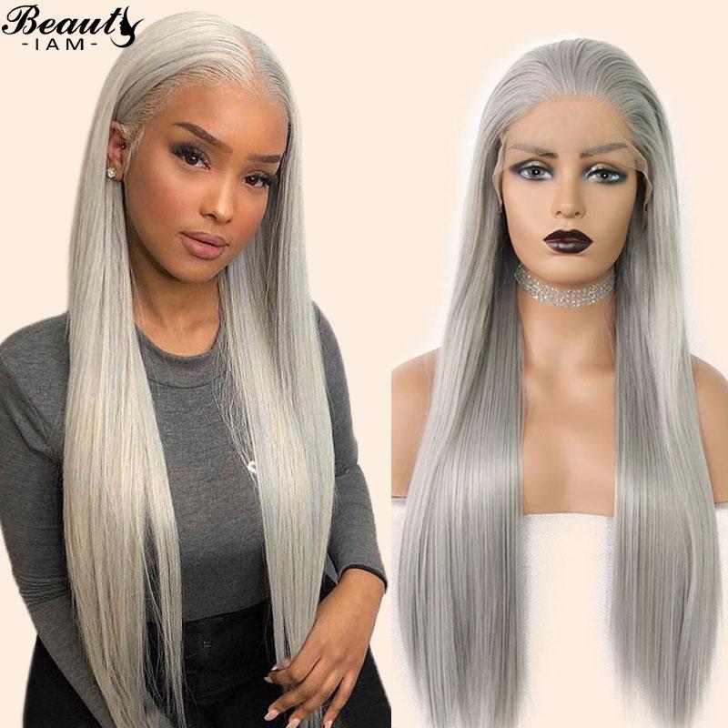 Прямые волосы 13x6 Синтетические волосы на кружеве парик седые волосы парик Цветной предварительно парик шнурка Малайзии человеческих