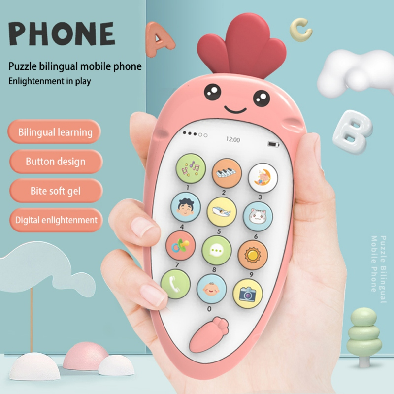 Vocal Toys Mobile Phone Soft Plastic Early Education Puzzle Bilingual Infant Safety Can Bite Multi-Function New