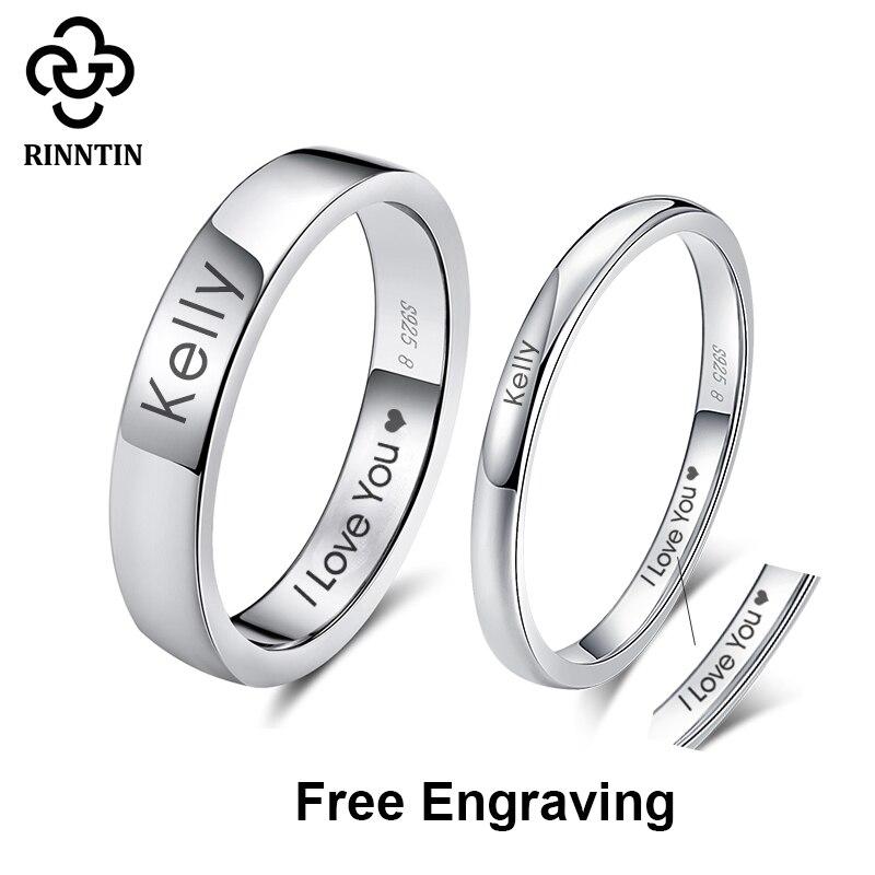Rinntin 925 пробы серебряные DIY Выгравированные простые парные кольца имя влюбленные персонализированные пользовательские кольца ювелирные из...