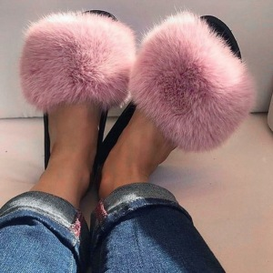 Sexy Casual Women Faux Fur Slippers Flat Shoes Furry Fluffy Slippers Outdoor Indoor Home Female Flip Flops Slides Dropshopping