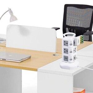 Image 4 - Presa multipla a torre protezione da sovratensione verticale presa multipla presa elettrica doppia presa universale USB cavo di prolunga 3m
