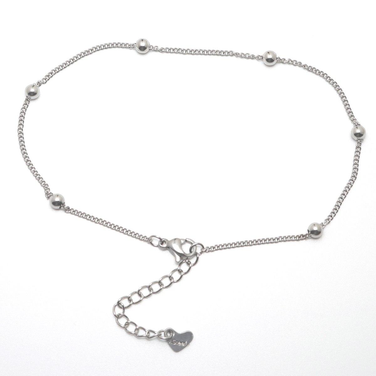 304 из нержавеющей стали, ножной серебро Цвет Круглый браслет с подвеской на щиколотке; С колокольчиком, Модные женские ювелирные изделия, по...