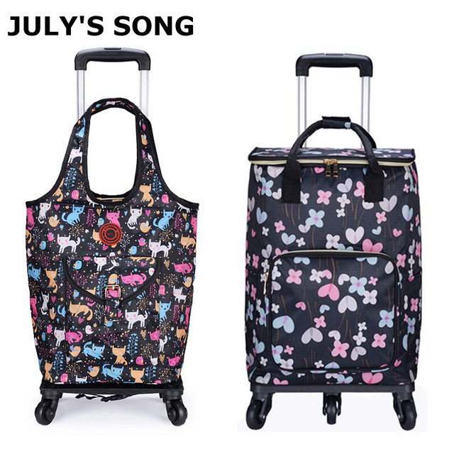JULY'S SONG Foldable Shopping Bag Waterproof Handbag with Wheels Big Capacity Grocery Shopping Cart Rolling Trolley Bag For Wome