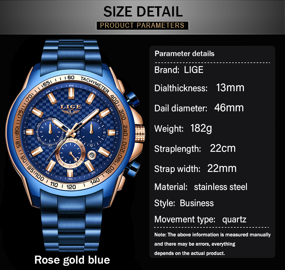 H26392a49d8c2494b91468495672aef72W - LIGE New Fashion Blue Watch,Mens Watches Top Brand Luxury Clock Man Military Chronograph Quartz Watch Men Relogio Masculino