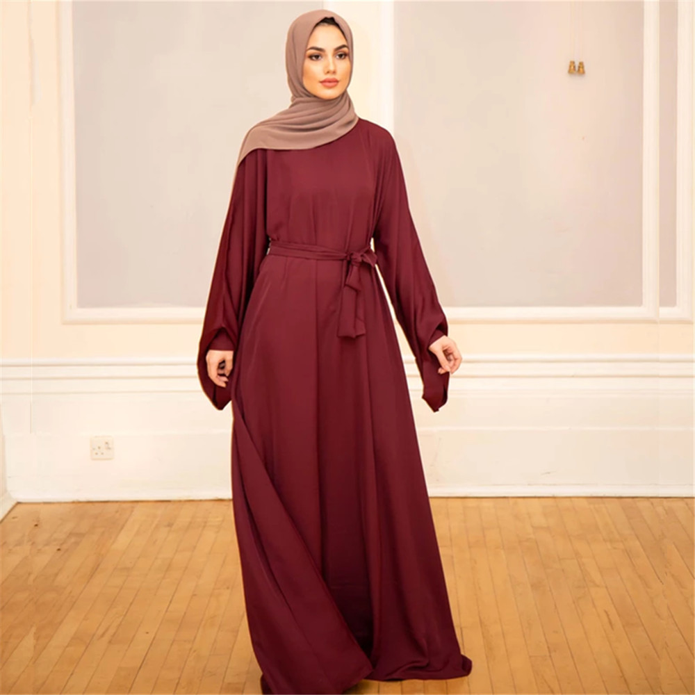 Muslim Fashion Dresses Islamic Women's Clothing Middle East Turky Solid Color Plus Size Long Dress Muslim Casual Arabic Dress 5