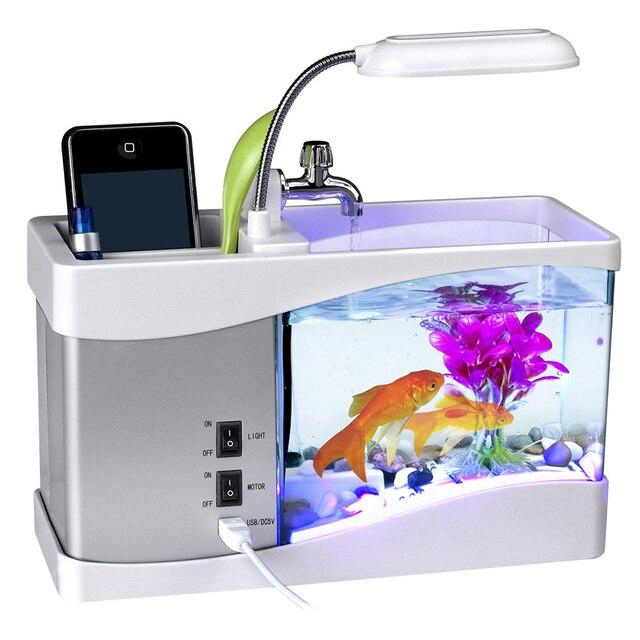 Mini Fish Tank Desktop Fish Tank Aquarium USB Multi-functional  Fish Bowls LCD Display Screen Calendar Clock Aquarium Tank  D30 1