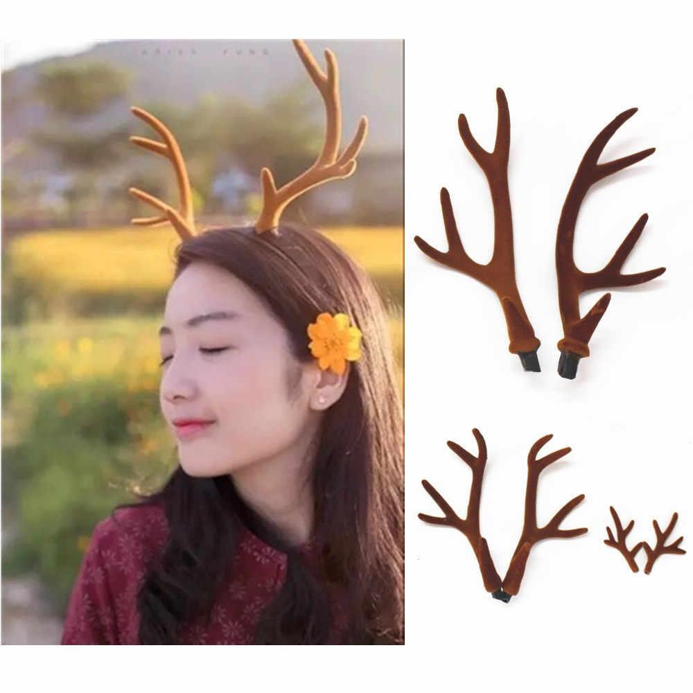 1 Pair Simulation Plastic Deer Antlers DIY Hair Accessories Christmas Home Decor