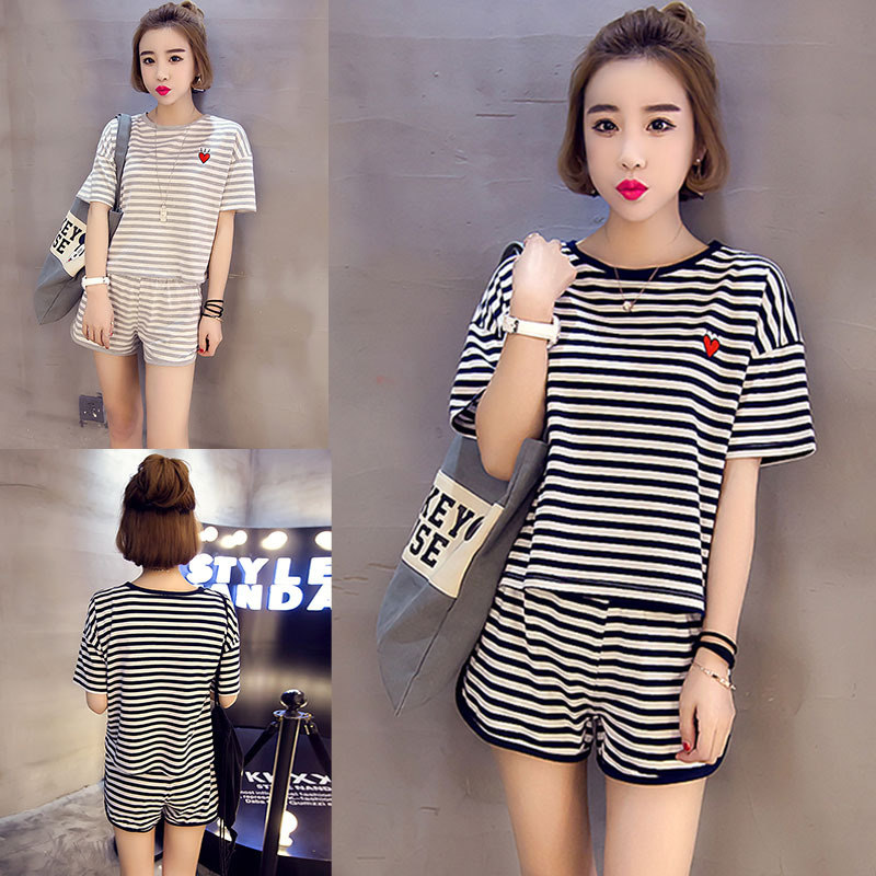 Permalink to Women's Sleepwear Summer Thin WOMEN'S Home Wear Black Striped Lovely Short Sleeved QMilch Set