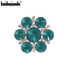 baiduqiandu Brand New Arrival Green or Red Glass Crystal Flower Brooch Pins for Women