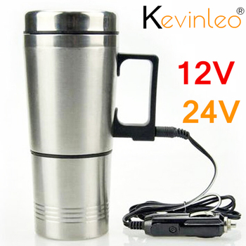 300ml 24v Water Heater Car Heating Cup Stainless Steel Auto Kettle Travel Coffee Tea Heated Mug Motor Cigarette Lighter Plug 12v stainless steel car auto heating cup kettle 400ml hot water heater bottle portable vacuum flask travel car electric cup