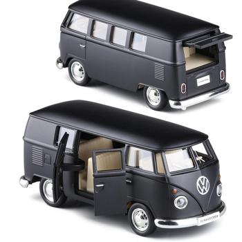 136 skala Diecast Alloy matowy czarny Model samochodu dla TheVolks Wagen MicroBus T1 Transporter klasyczny autobus kolekcja zabawki napędzane typu naciągnij i puść