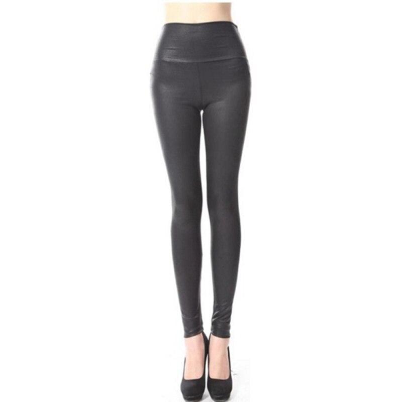 Women High Waist Leggings Faux Leather Black Matt Leggings Satin PU Snake Printed Winter Autumn Pants3