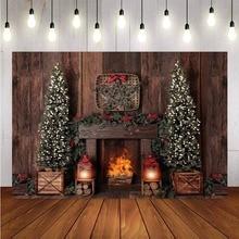 Fotografia tło dekoracyjna choinka bożonarodzeniowa Retro Vintage drewniana ściana kominek tła świąteczne na boże narodzenie dla Photo Studio