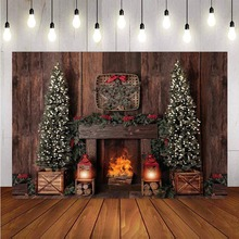 Photography Background Christmas Decoration Tree Retro Vintage Wooden Wall Fireplace Christmas Backdrops for Photo Studio