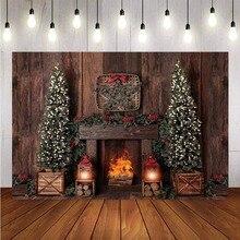 การถ่ายภาพพื้นหลังคริสต์มาสตกแต่งต้นไม้ Retro VINTAGE ไม้เตาผิงคริสต์มาสฉากหลังสำหรับ Photo Studio
