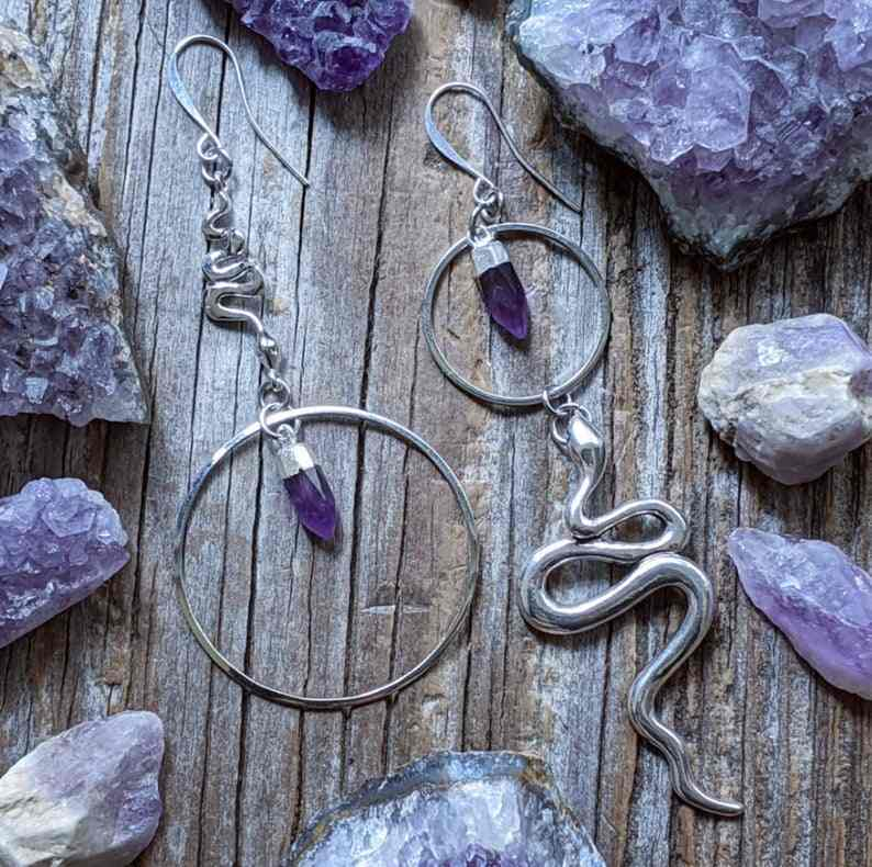 witch alternative Spellbound Crystal Hoop Earrings halloween gift Witchcraft accessories gothic jewellery goth accessories
