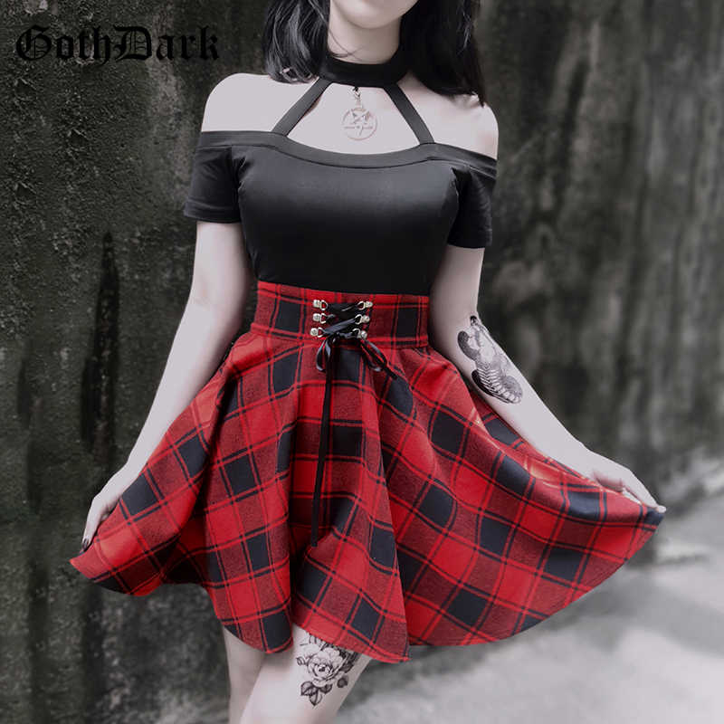 Goth Dark Vintage Grunge Gothic Dresses Harajuku Aesthetic Plaid Halter Pendant Autumn 2019 Party Dress Patchwork Sexy Fashion