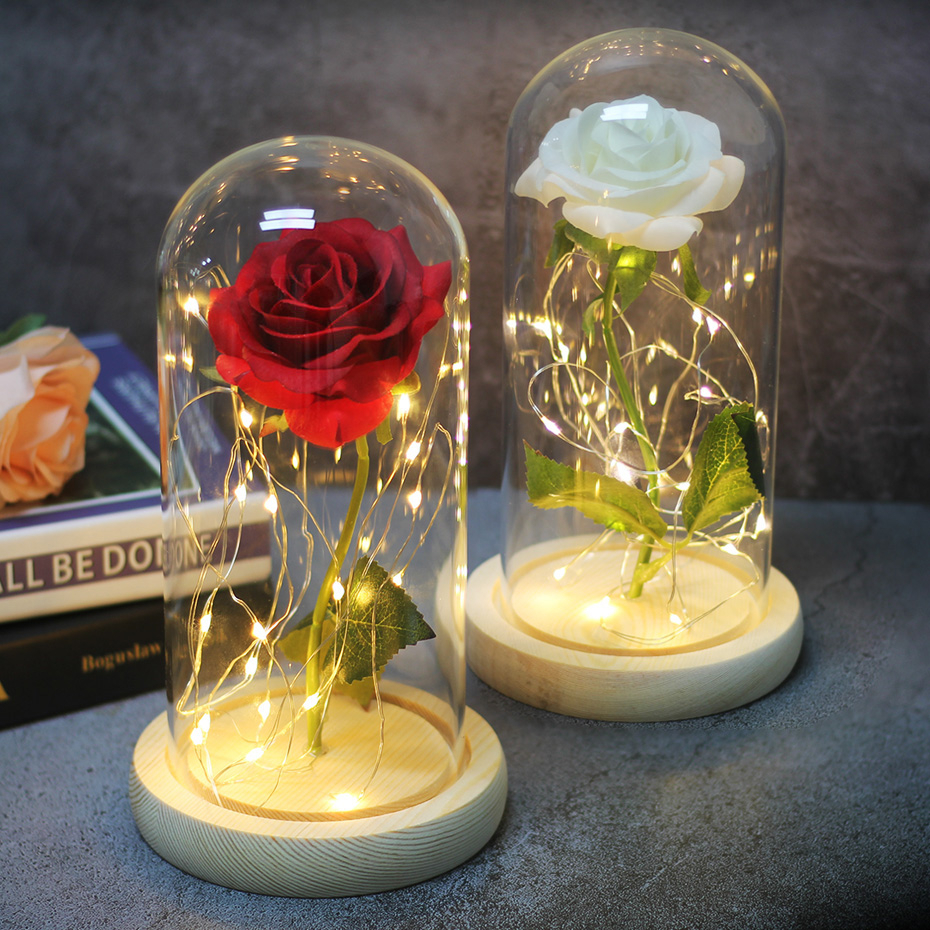 Eternal Life Flower Immortal Rose Night Light Beauty And The Beast Rose In Glass Dome Luminaria Valentines Day Gift