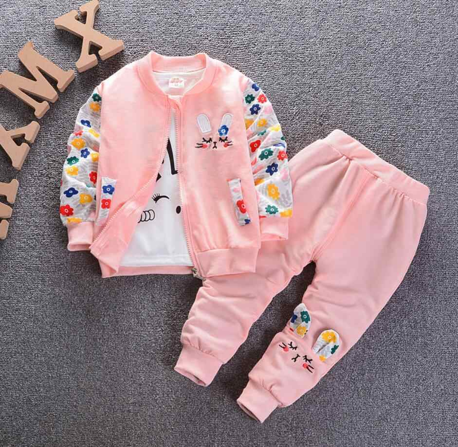 Bibicola Bayi Gadis Pakaian Set Anak Gadis Musim Semi Wave Titik Pakaian Gadis Lucu Pakaian Suit Childern Katun 3 Pcs suit