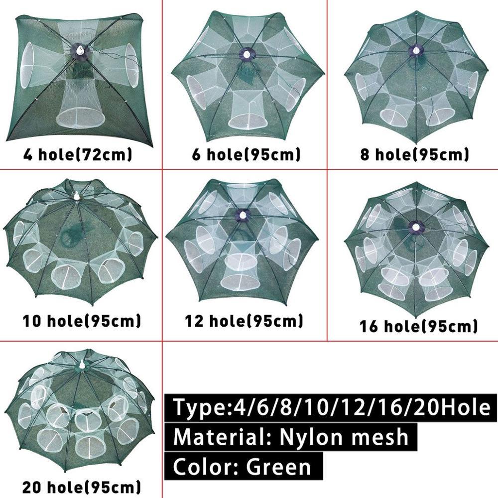 4-20 Hole Fishing Net Folding Portable Hexagonal Fish Net Casting Net Crayfish Shrimp Catcher Fish Tank Trap Net