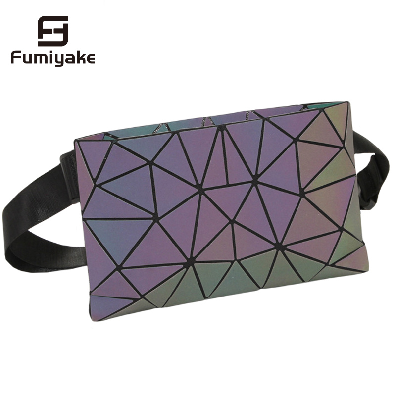 Holographic Waist Bags Women Waist Purse Fanny Pack Female Geometric Waist Packs Laser Chest Phone Pouch Belt Money Holiday Bag