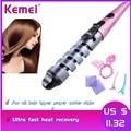 Электрический выпрямитель Kemei  керамические щипцы для завивки волос  спиральная палочка  роликовый салон  нагрев  щипцы для завивки волос  и...