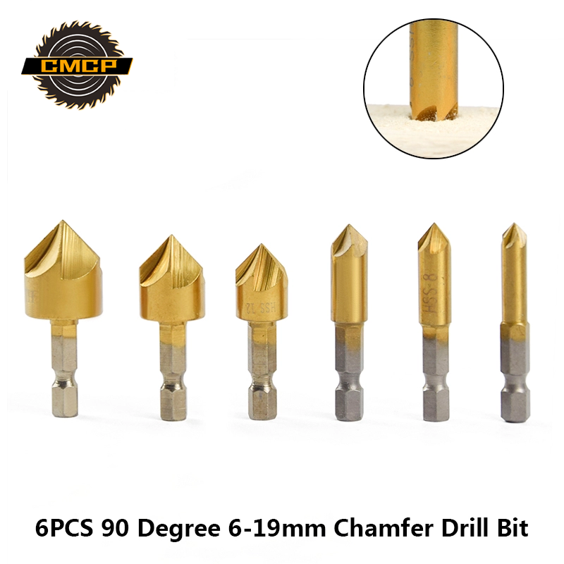 6PCS 90 Degree 5 Flutes Chamfering Cutter 6-19mm Tianuim Coated Chamfer Drill Bit 1/4 Hex Shank Countersink Drill Bit Set