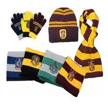 Гарри Поттера Слизерин шарф галстуком-бабочкой перчатки, хуфлепуф, равенклав, Гермиона шарфы Косплэй теплый шарф для мужчин и женщин для ма...