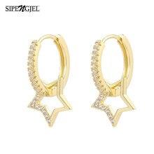 SIPENGJEL Trendy Gold Star Love ciondola gli orecchini di goccia Boho Vintage Dainty minimalista orecchini semplici per le donne gioielli Huggie