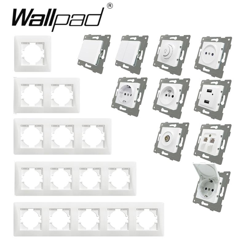 EU Plastic Frame Function Key DIY Wall Push Button Reset Curtain USB EU French Switch Outlet Back Wallpad L6 For EU Box