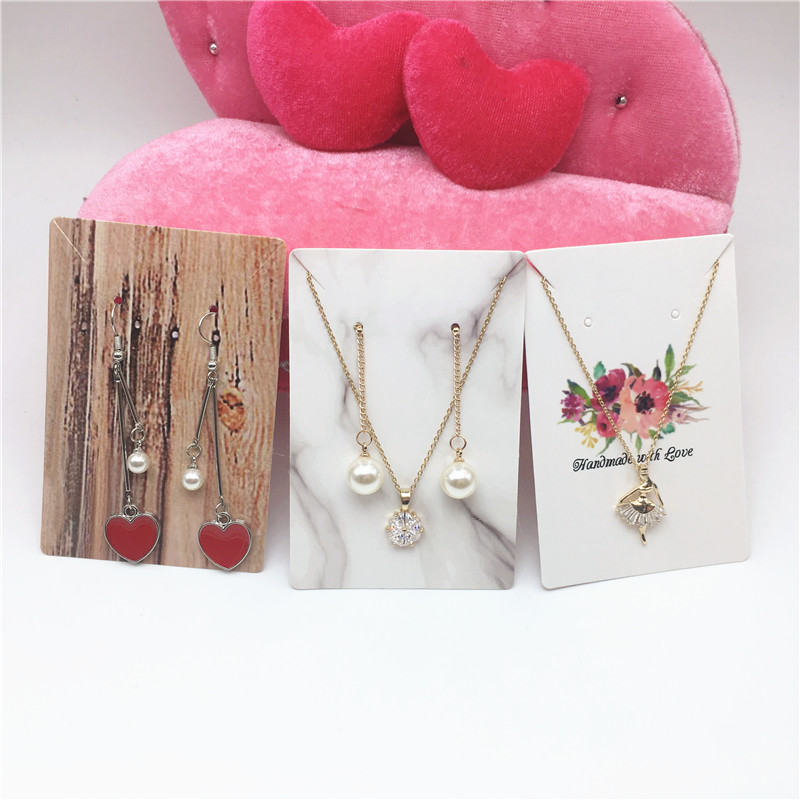10Pcs/lot  9x6cm Kraft Jewelry Cards Paper Earrings Card Necklace Display Packaging Cards Tags Can Custom Logo