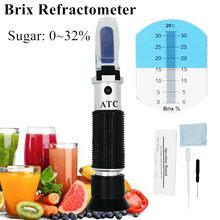 Handheld Brix Refractometer 0 ~ 32% Optische Suiker Voedsel Dranken Atc Inhoud Meter Tool Test 35% Off