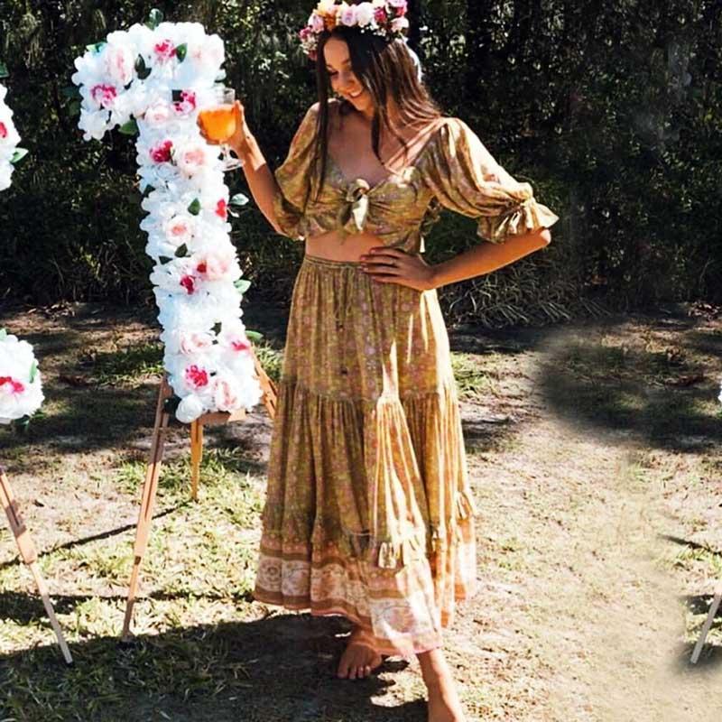 Boho Inspired Floral Maxi Skirt Women Elastic Waist Ladder Trim Summer Skirt Frill Hem Boho Skirt 2019 New Gypsy Ladies Faldas