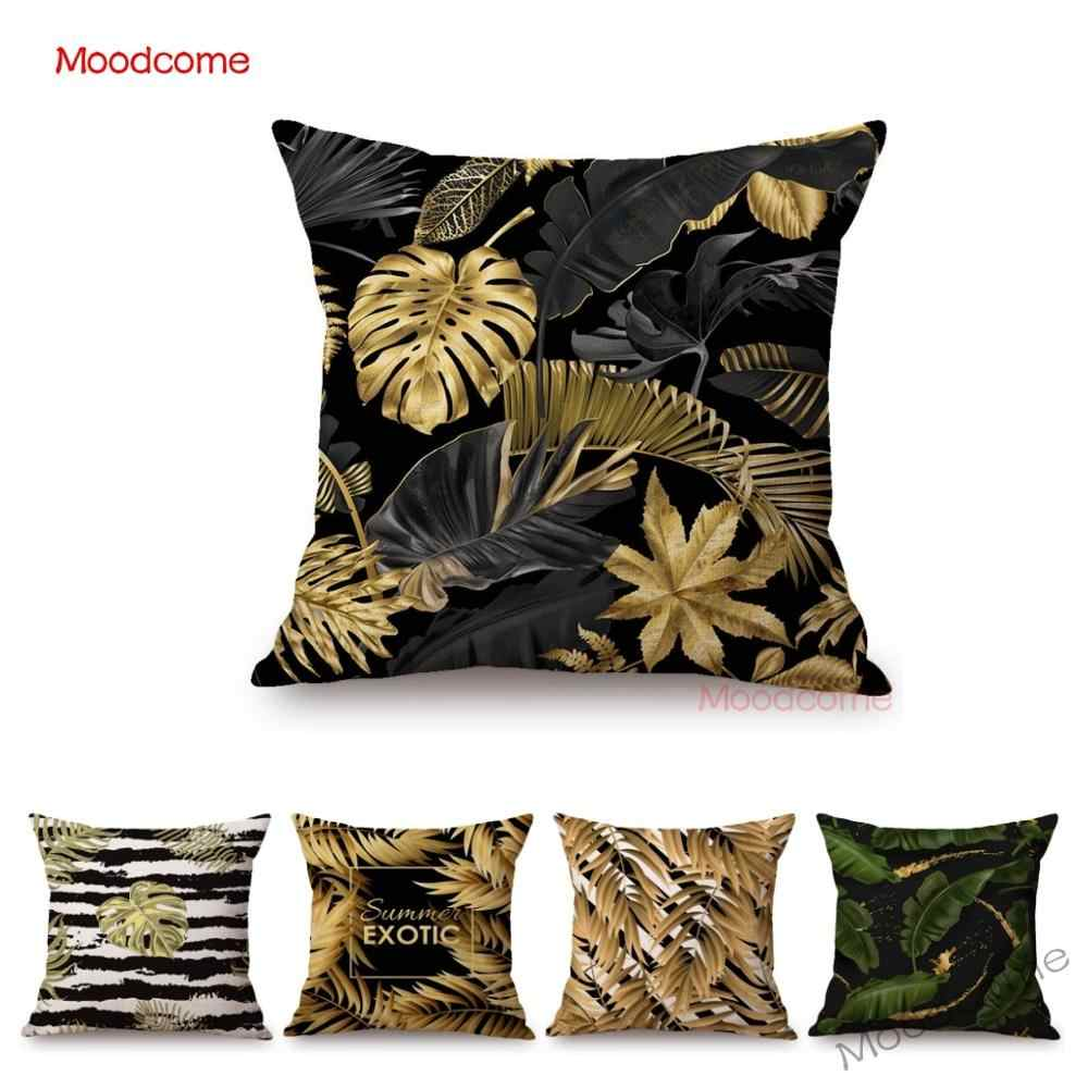 Gold Black Background Tropical Plant Palm Leaves Leaf Home Decoration Sofa Throw Pillow Case Cotton Linen Elegant Cushion Cover Cushion Cover Aliexpress Any other artwork or logos are property and trademarks of their respective owners. aliexpress