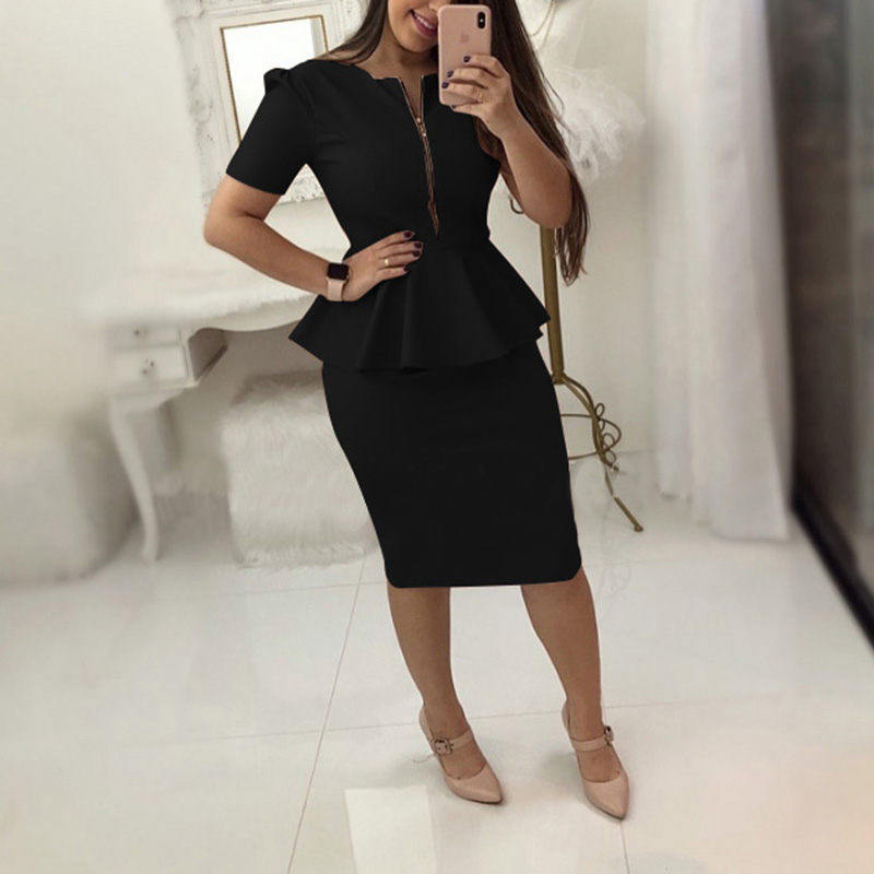 Trabalho de escritório Vestido Mulheres Sólidos Vestidos de Manga Curta de Negócios Ol Vestido Elegante Bainha Vestidos de Festa Azul Preto Plus Size