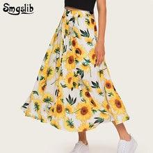 купить 2019 Fashion Tide New Spring Autumn skirt elegant sweet englant style floral ankle-length A-line Yellow chrysanthemum plus size дешево
