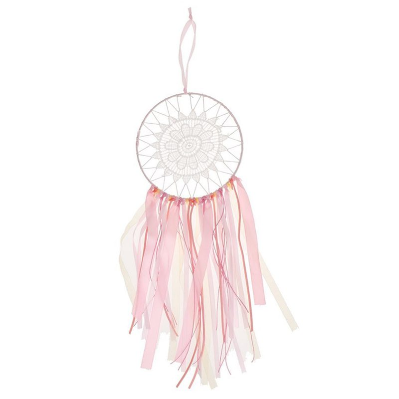 Bohemia Pink Ribbon Lace Dream Catcher Home Wall Hanging Decor Pink+white