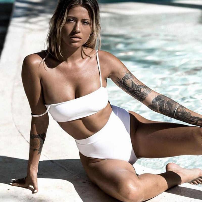 Bademode Frauen Bikini Set Bh Sexy Hohe Taille Bikini 2 Stück Badeanzug Weibliche Einfarbig Beachwear 2020 Sommer Schwimmen Bade anzug