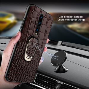 Image 2 - Genuine Leather Ring bracket Magnetic phone case for oneplus 7 7pro 6 6T Luxury cover for One plus 7 7t pro 5 5t case Fundas