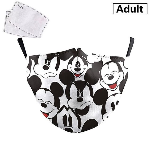 PM2.5 Face Adult Mask Children Mask Anime Print Spiderman Grimace Mask Reusable Filter Pad Pollution Activated Carbon kids Masks 3