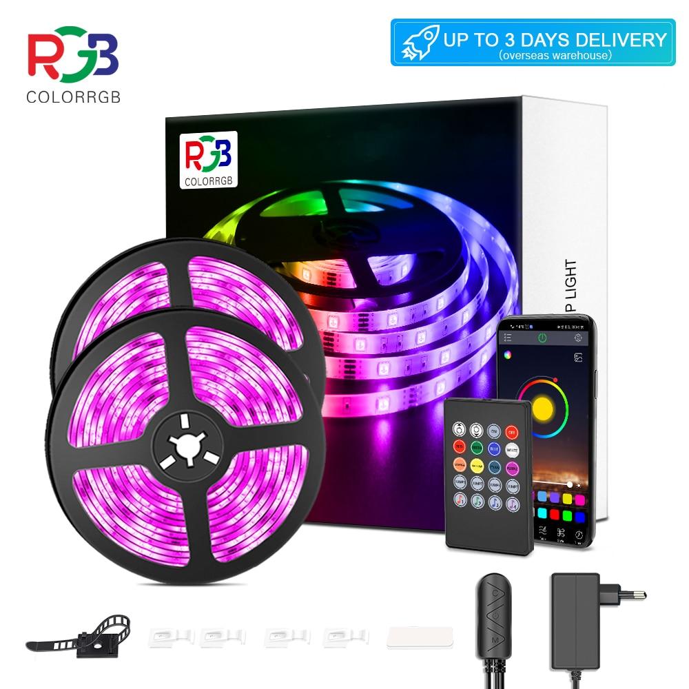 Luz de tira conduzida, luzes do rgb 5050, mudança da cor da sincronização da música, mic incorporado, luzes conduzidas controladas app da corda luzes 5m 10m 20m