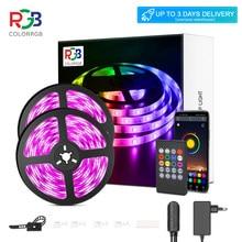 Bande lumineuse LED RVB 5050 à synchronisation musicale, cordons lumineux, à couleur changeante, avec micro intégré, lampes contrôlées par l'application, taille 5 m, 10m et 20m